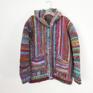 Vintage Chunky Wool Rainbow Striped Boho Cardigan